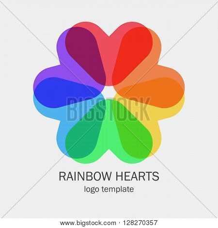 Conceptual single logo with a heart shapes in a circle form. Six hearts in rainbow colors form the flower. Red, orange, yellow, green, blue and violet hearts in one icon symbol. Easy do use and edit