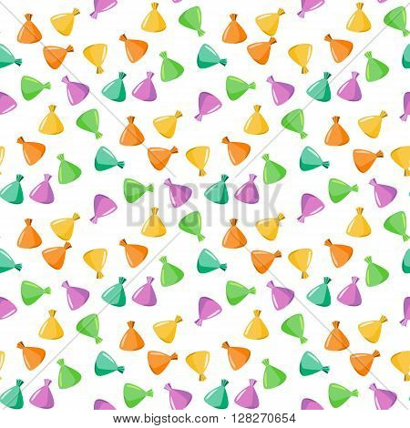 Seamless pattern with chocolates truffles in colorful wrapper.