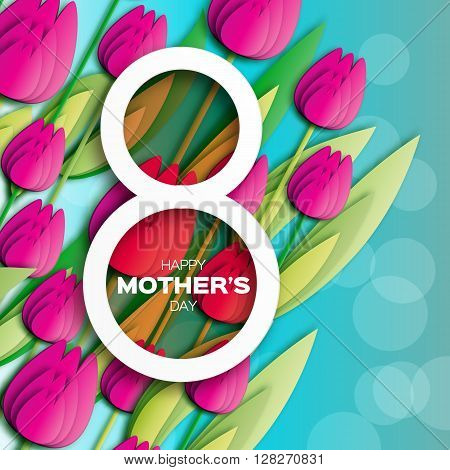 Pink Floral Greeting card International Happy Mothers Day. Women's Day with Bunch of Spring Tulips. Flower holiday background. Beautiful bouquet. Trendy Design Template. Vector illustration.