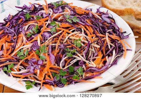 Coleslaw salad of red cabbage with carrots Celery root