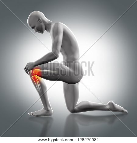 3D render of a male medical figure holding knee with partial skeleton