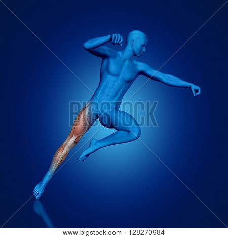3D render of a blue medical figure with partial muscle map in jump pose