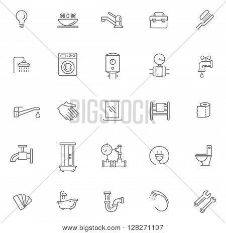 Vector plumbing line icons set. Equipment, bathroom, engineering