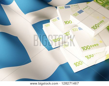 Euro banknote bundles on textile textured Greece flag. 3d rendering.