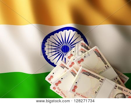 Indian rupee banknote bundles on textile textured Indian flag. 3d rendering.
