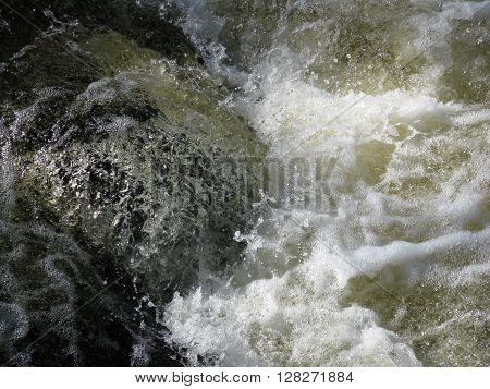 close up of Mountain River Rushing Water Flowing Texture