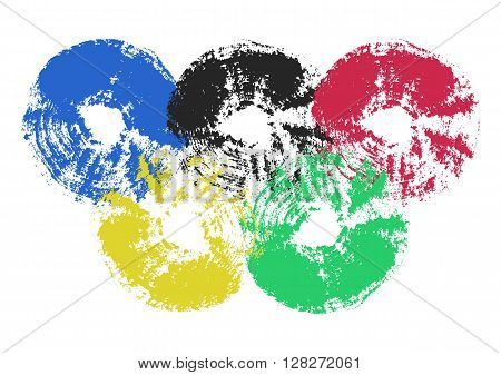 The five rings emblem. Blue, black, red, yellow, and green brush stroke circles. Grunge messy texture. Vector illustration