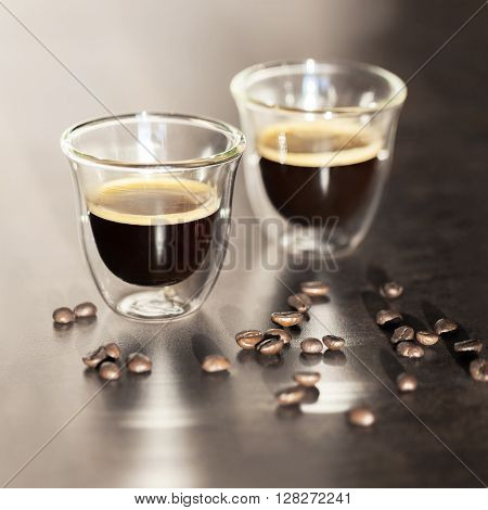 delicious and aromatic Espresso in transparent cups