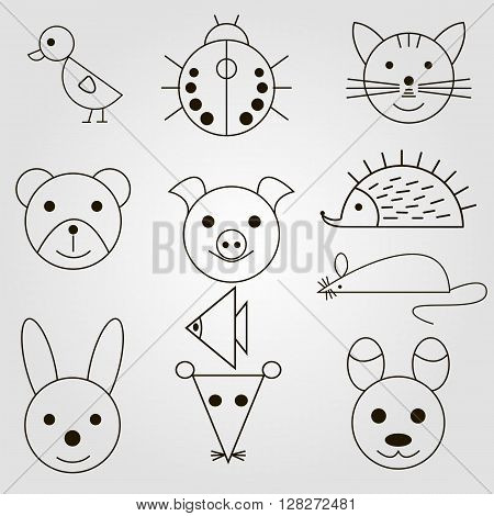 Set of Animal icon. line art sryle