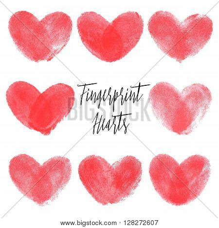 Set of 8 fingerprint hearts. Red realistic thumbprint isolated on white. For wedding, honeymoon, valentines day or romantic design. Qualitative trace of real finger print