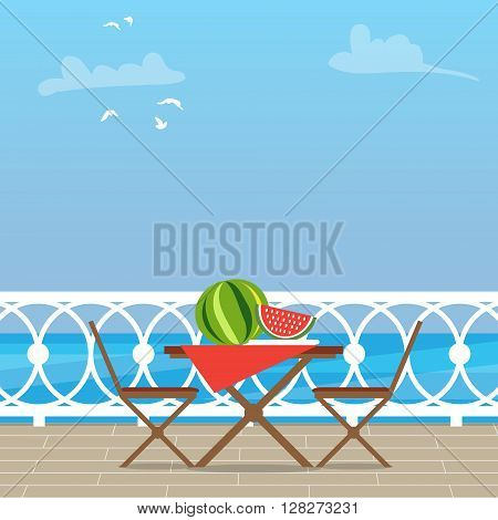 House Patio With Garden Chairs and Table on the terrace balcony. View over the sea. Water landscape. Picnic with waternelon. Flat style vector illustration.
