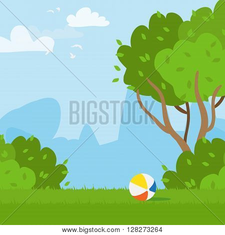 Rubber ball and outdoor park. Grass field. Playing ball. Vector illustrations.