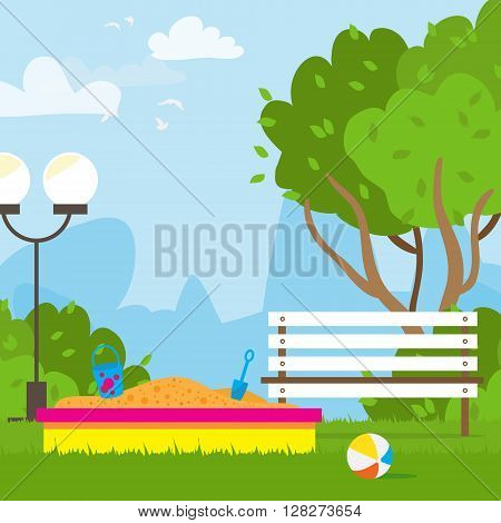 Colorful Children's playground with sandbox bench.Kids playground. School Children's park. Buildings for city construction. Kindergarten Vector flat design illustration