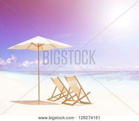 Deck chairs on white sand beach.