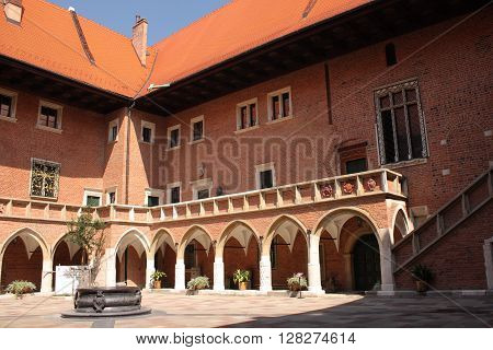 Wawel in Cracow (Poland), courtyard of the royal castle