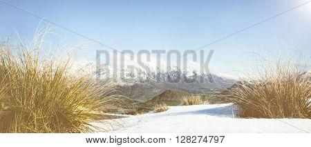 Winter Mountain Cold Snow Landscape Frozen Concept