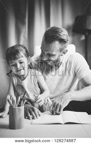 Family Time Daddy Daughter Activity Together Concept