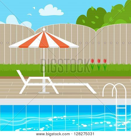 Chaise Lounge with Parasol umbrella near the Swimming pool. House backyard. Summer resort vacation background. Water beach vacation. Vector Design illustration.