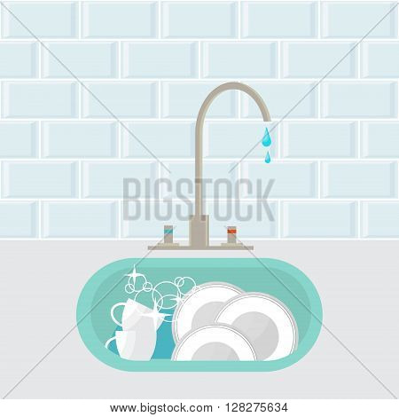Kitchen sink with clear kitchenware. Vector illustration