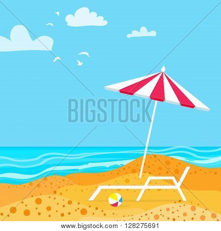 Chaise Lounge with Parasol umbrella. Ocean. Summer resort vacation background. Water beach vacation. Vector Design illustration.