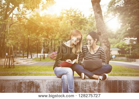 Women Friendship Studying Brainstorming Concept