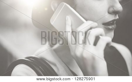 Woman Mobile Phone Connection Talking Communication Concept