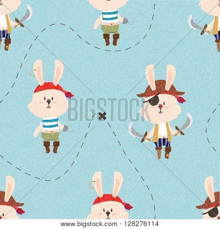 Cute pirate rabbits seamless pattern. Treasure map lines. Kids illustration.