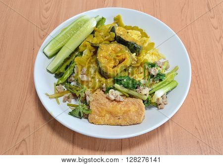red curry bitter cucumber with catfish and stir-fried egg tofu