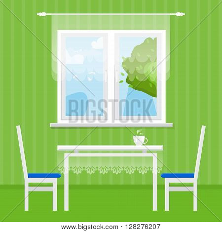 Green Interior Dining Room. Dining table with cup and chairs. Furniture. Kitchen. Home Interior Objects. Style vector illustration