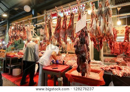 Butcher Shop At Vlali Market In Thessalonik