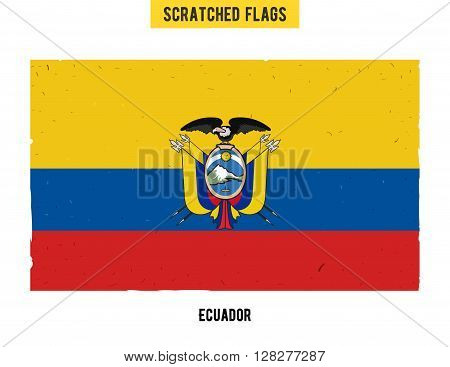 Ecuadorian grunge flag with little scratches on surface. A hand drawn scratched flag of Ecuador with a easy grunge texture. Vector modern flat design.