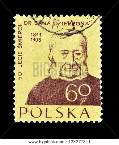 POLAND - CIRCA 1956 : Cancelled postage stamp printed by Poland, that shows Father Jan Dzierzon.