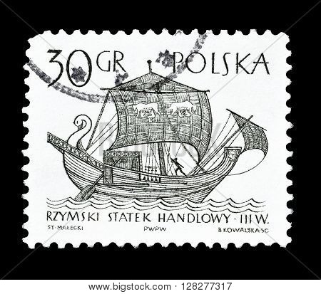 POLAND -CIRCA 1964 : Cancelled postage stamp printed by Poland, that shows Old merchant ship.