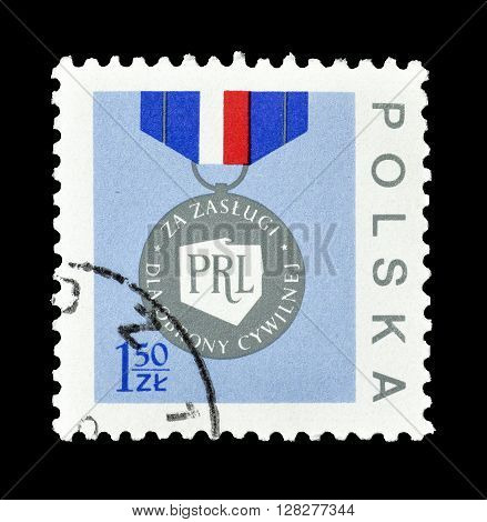 ISRAEL - CIRCA 1977 : Cancelled postage stamp printed by Poland, that shows Medal.