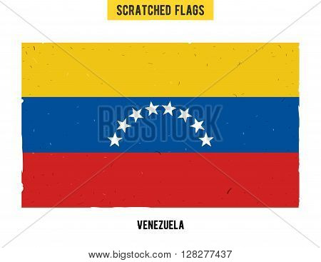 Venezuelan grunge flag with little scratches on surface. A hand drawn scratched flag of Venezuela with a easy grunge texture. Vector modern flat design.