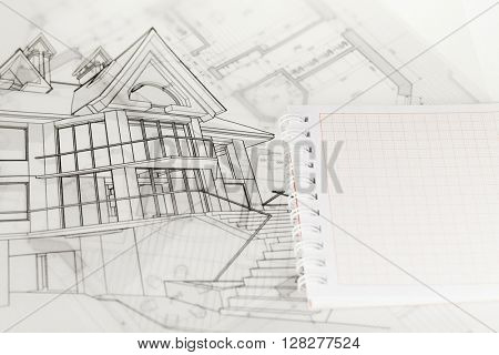 architecture blueprints, house drawing & notepad