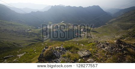 Beautiful mountain landscape with glacier lake in the summer
