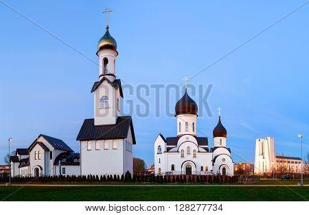 Pokrov-Nikolskaya orthodox church in Klaipeda, Lithuania. Was built in 2000, in the public park