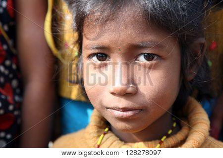 KUMROKHALI, WEST BENGAL, INDIA - JANUARY 14: Portrait of tribal children in a village Kumrokhali, India on January 14, 2009.