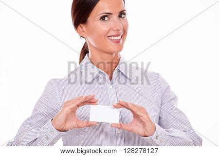 Smiling Happy Businesswoman With Visit Card