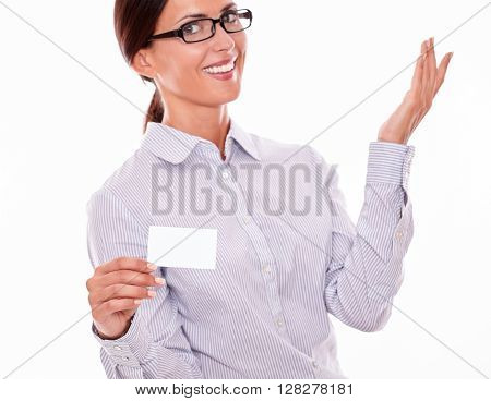 Satisfied Brunette Businesswoman With Visit Card