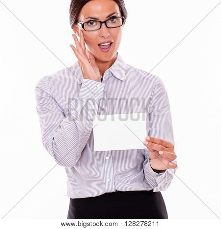 Impressed Brunette Businesswoman With Copy Space