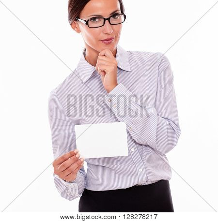 Pensive Brunette Businesswoman With Copy Space