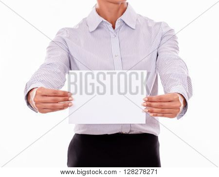 Cropped Businesswoman With A Blank Placard