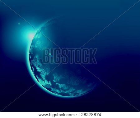Blue planet 3d illustration in universe concept.
