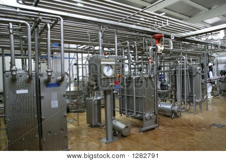 Temperature Control Valves And Pipes  In Dairy Production Factory