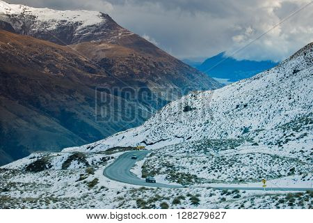 beautiful scenic of queenstown mountain route south island new zeraland