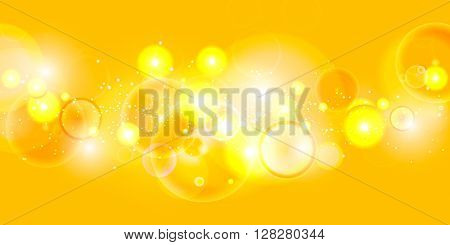 Yellow abstract festive bokeh lights background. EPS 10 colorful bokeh abstract vector background
