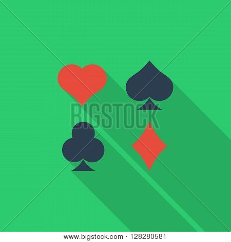 Card suit icon. Flat vector related icon with long shadow for web and mobile applications. It can be used as - logo, pictogram, icon, infographic element. Vector Illustration.
