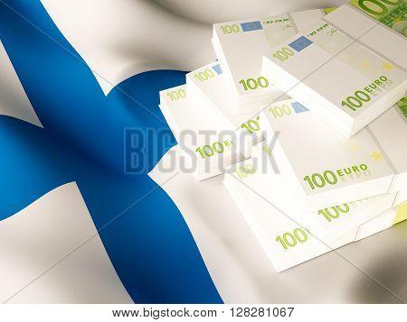 Euro banknote bundles on textile textured Finland flag. 3d rendering.
